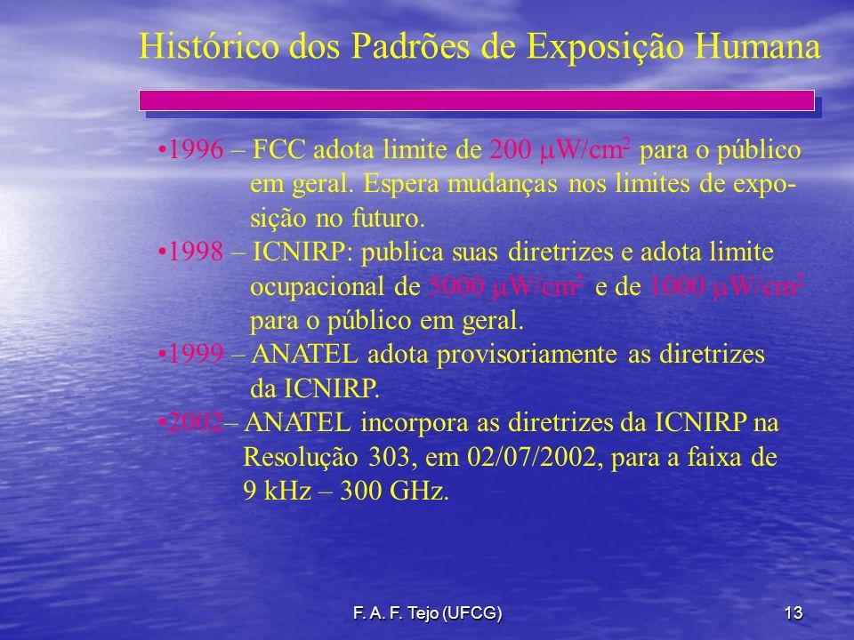 F. A. F. Tejo (UFCG)13 Histórico dos Padrões de Exposição Humana 1996 – FCC adota limite de 200 W/cm 2 para o público em geral. Espera mudanças nos li