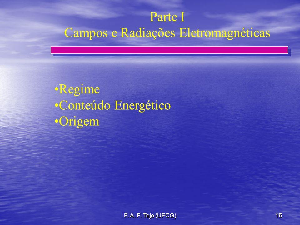 F. A. F. Tejo (UFCG)16 Regime Conteúdo Energético Origem Parte I Campos e Radiações Eletromagnéticas