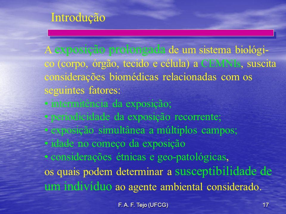F. A. F. Tejo (UFCG)17 Introdução A exposição prolongada de um sistema biológi- co (corpo, órgão, tecido e célula) a CEMNIs, suscita considerações bio
