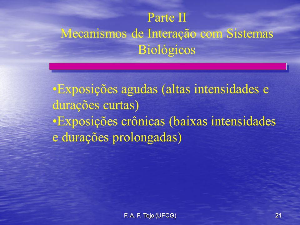 F. A. F. Tejo (UFCG)21 Parte II Mecanismos de Interação com Sistemas Biológicos Exposições agudas (altas intensidades e durações curtas) Exposições cr