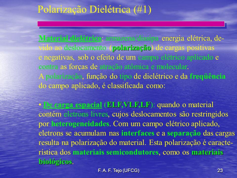 F. A. F. Tejo (UFCG)23 Polarização Dielétrica (#1) Material dielétrico: armazena/dissipa energia elétrica, de- polarização vido ao deslocamento (polar