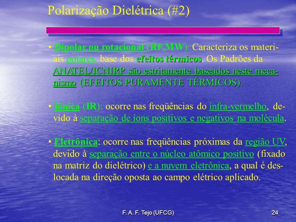 F. A. F. Tejo (UFCG)24 Polarização Dielétrica (#2) Dipolar ou rotacional (RF,MW): Caracteriza os materi- efeitos térmicos ais polares, base dos efeito