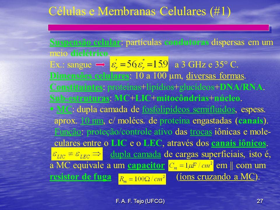 F. A. F. Tejo (UFCG)27 Células e Membranas Celulares (#1) Suspensão celular: partículas condutoras dispersas em um meio dielétrico. Ex.: sangue a 3 GH