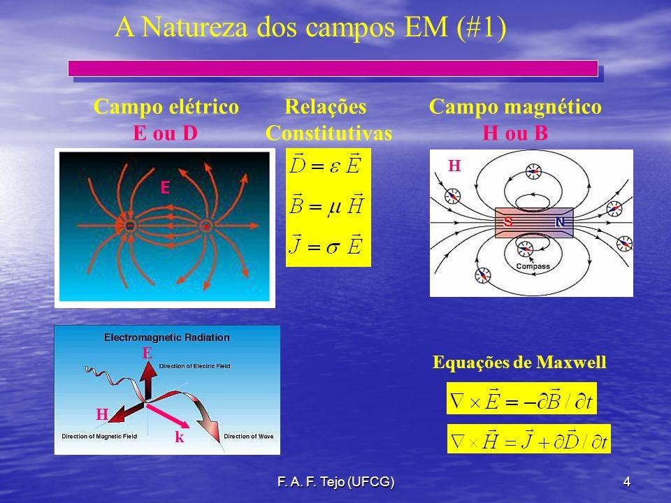 F. A. F. Tejo (UFCG)4 A Natureza dos campos EM (#1) Campo elétrico Relações Campo magnético E ou D Constitutivas H ou B E H k E H Equações de Maxwell