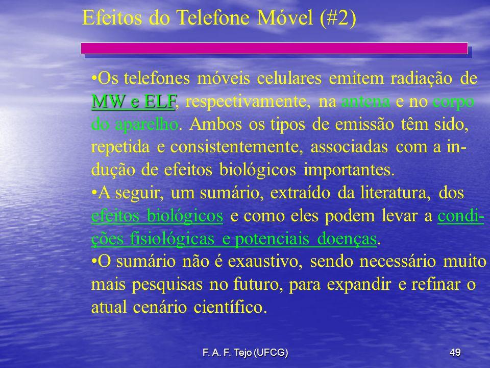 F. A. F. Tejo (UFCG)49 Efeitos do Telefone Móvel (#2) Os telefones móveis celulares emitem radiação de MW e ELF MW e ELF, respectivamente, na antena e