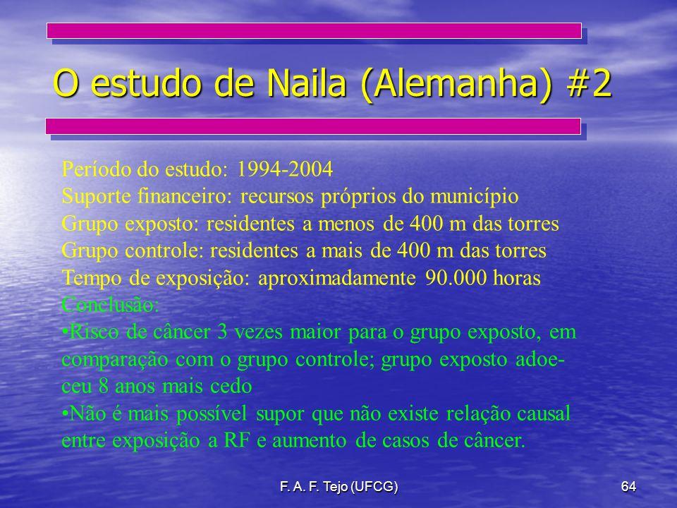 F. A. F. Tejo (UFCG)64 O estudo de Naila (Alemanha) #2 Período do estudo: 1994-2004 Suporte financeiro: recursos próprios do município Grupo exposto:
