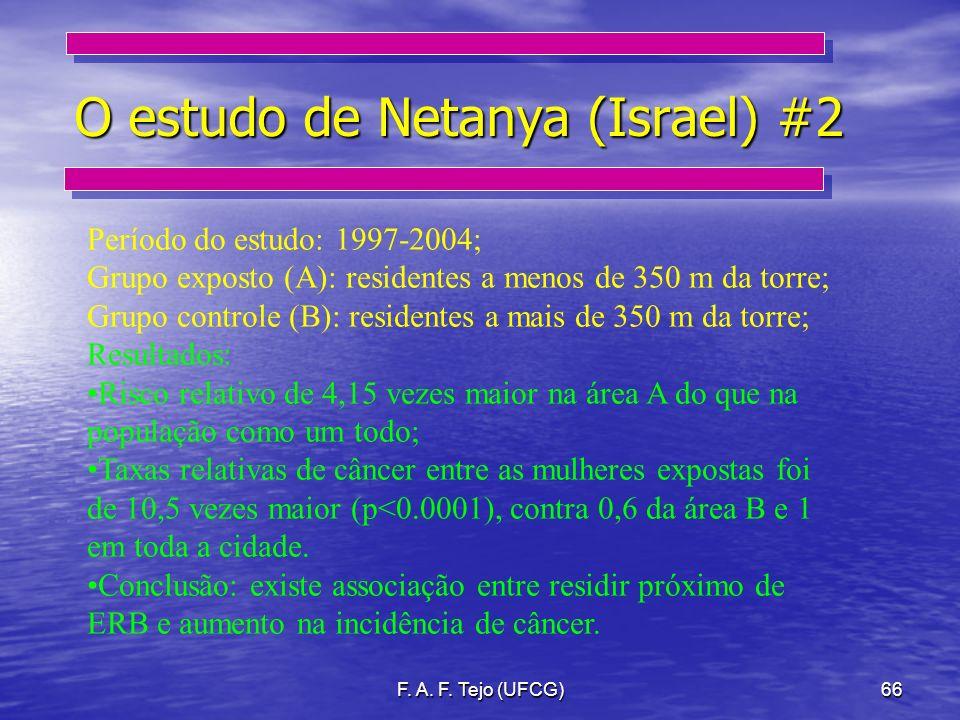 F. A. F. Tejo (UFCG)66 O estudo de Netanya (Israel) #2 Período do estudo: 1997-2004; Grupo exposto (A): residentes a menos de 350 m da torre; Grupo co