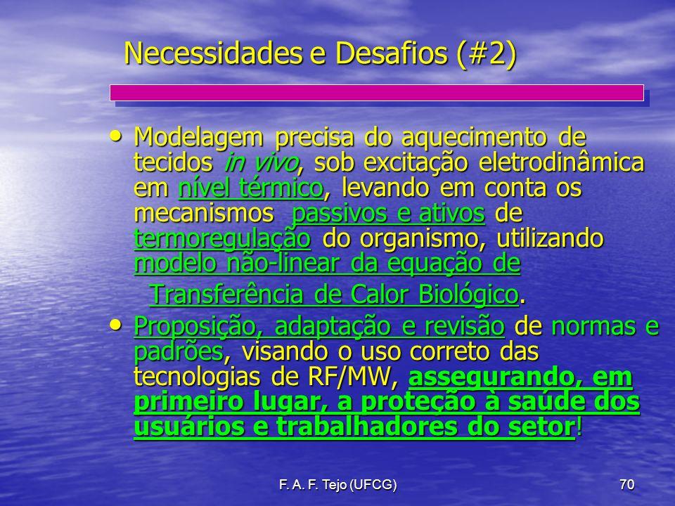 F. A. F. Tejo (UFCG)70 Necessidades e Desafios (#2) Modelagem precisa do aquecimento de tecidos in vivo, sob excitação eletrodinâmica em nível térmico