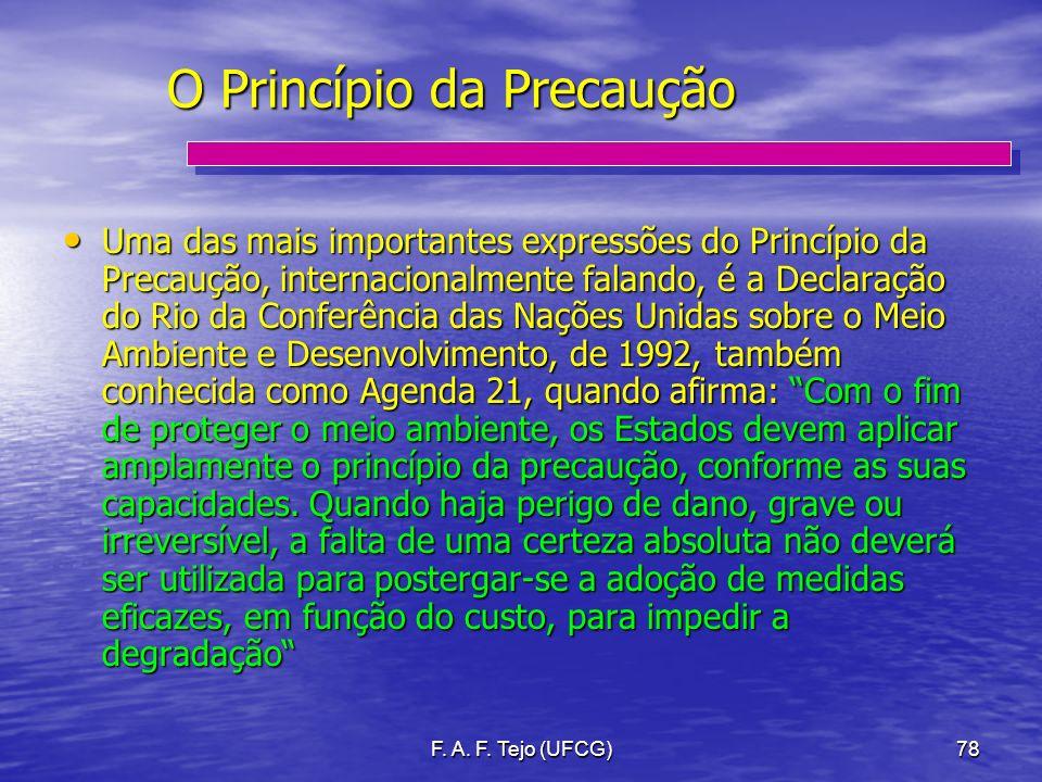 F. A. F. Tejo (UFCG)78 O Princípio da Precaução Uma das mais importantes expressões do Princípio da Precaução, internacionalmente falando, é a Declara
