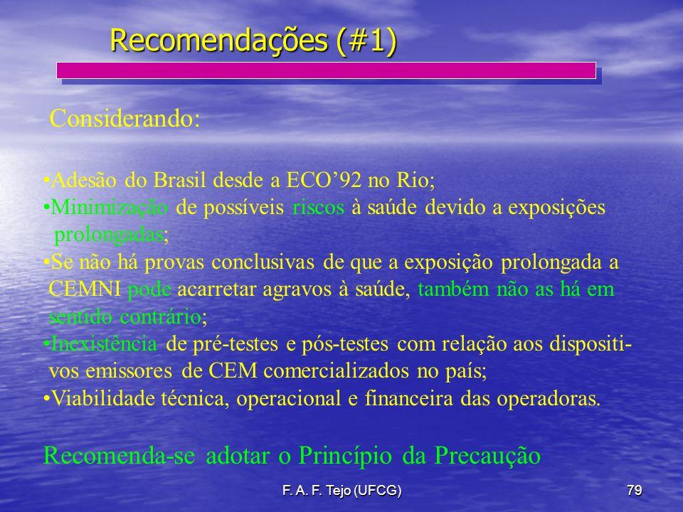 F. A. F. Tejo (UFCG)79 Recomendações (#1) Considerando: Adesão do Brasil desde a ECO92 no Rio; Minimização de possíveis riscos à saúde devido a exposi