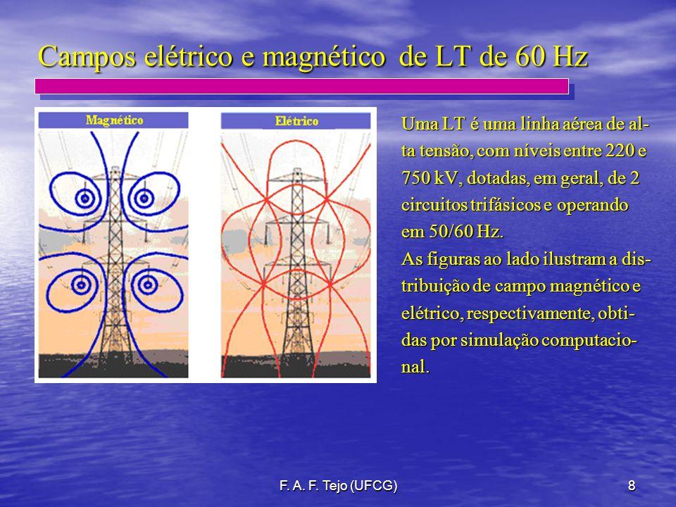 F. A. F. Tejo (UFCG)8 Campos elétrico e magnético de LT de 60 Hz Uma LT é uma linha aérea de al- ta tensão, com níveis entre 220 e 750 kV, dotadas, em