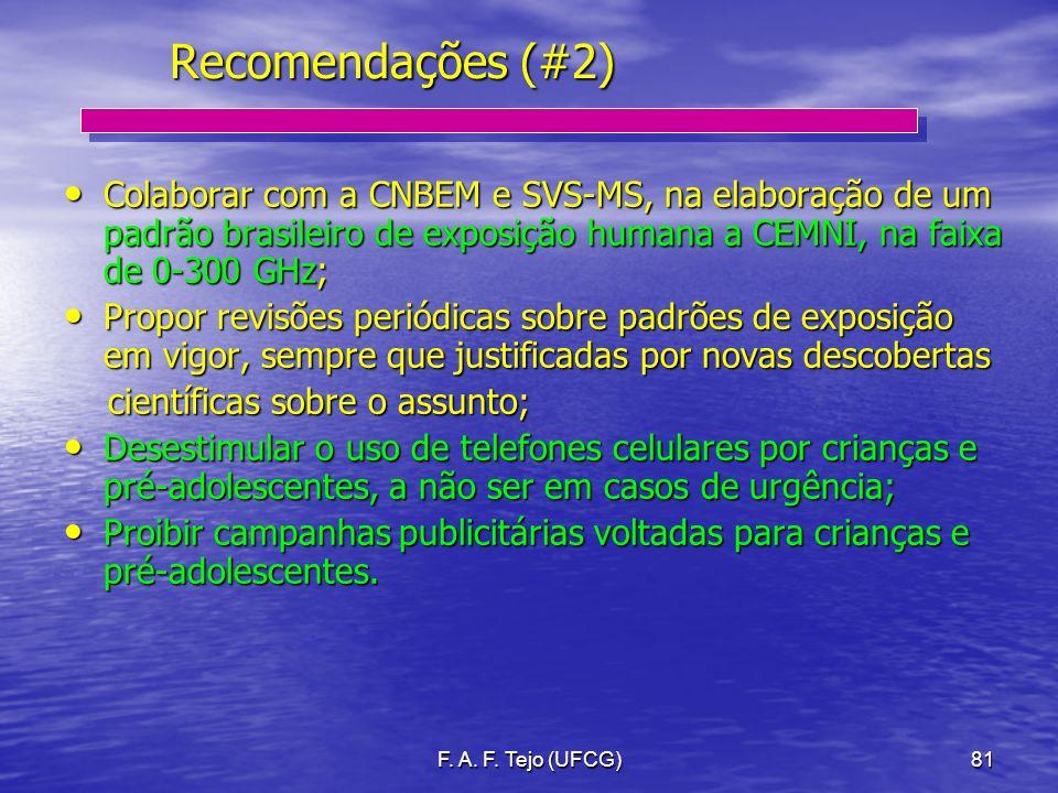 F. A. F. Tejo (UFCG)81 Recomendações (#2) Colaborar com a CNBEM e SVS-MS, na elaboração de um padrão brasileiro de exposição humana a CEMNI, na faixa