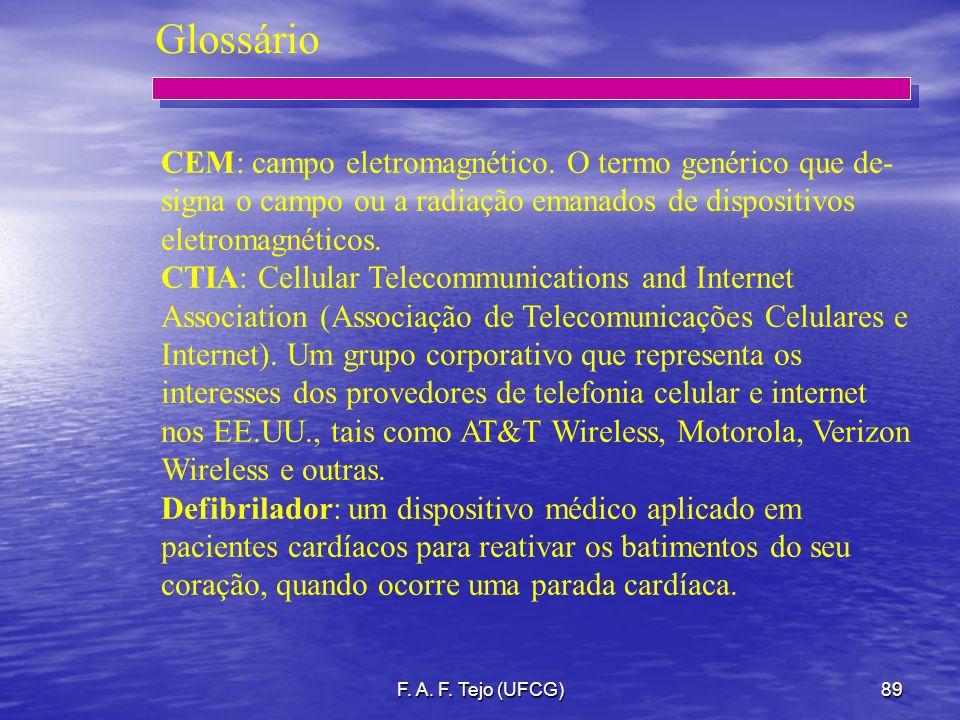 F. A. F. Tejo (UFCG)89 CEM: campo eletromagnético. O termo genérico que de- signa o campo ou a radiação emanados de dispositivos eletromagnéticos. CTI