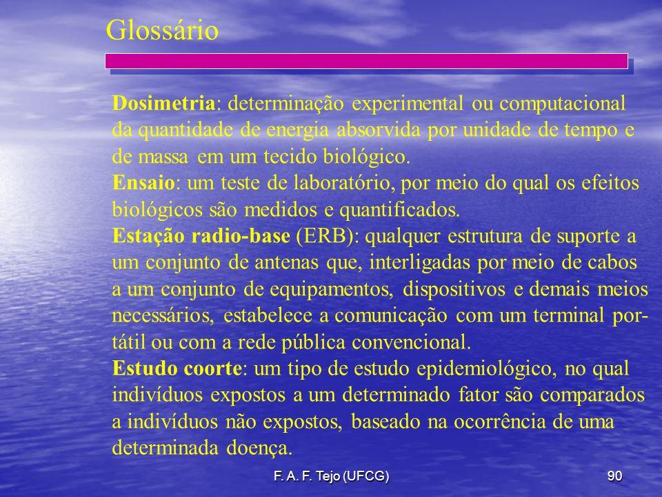 F. A. F. Tejo (UFCG)90 Glossário Dosimetria: determinação experimental ou computacional da quantidade de energia absorvida por unidade de tempo e de m