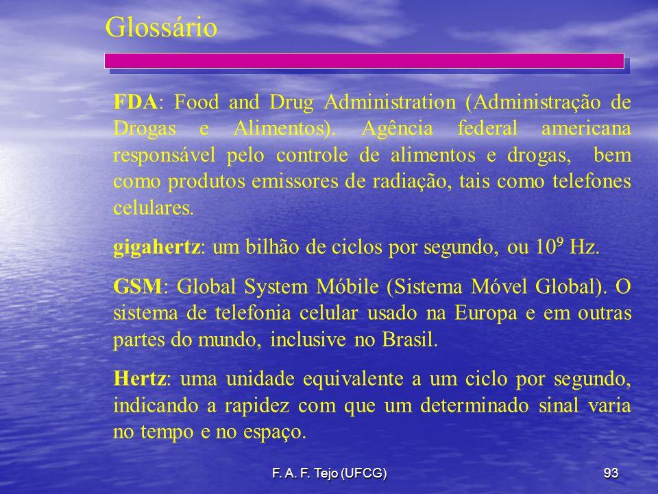 F. A. F. Tejo (UFCG)93 Glossário FDA: Food and Drug Administration (Administração de Drogas e Alimentos). Agência federal americana responsável pelo c