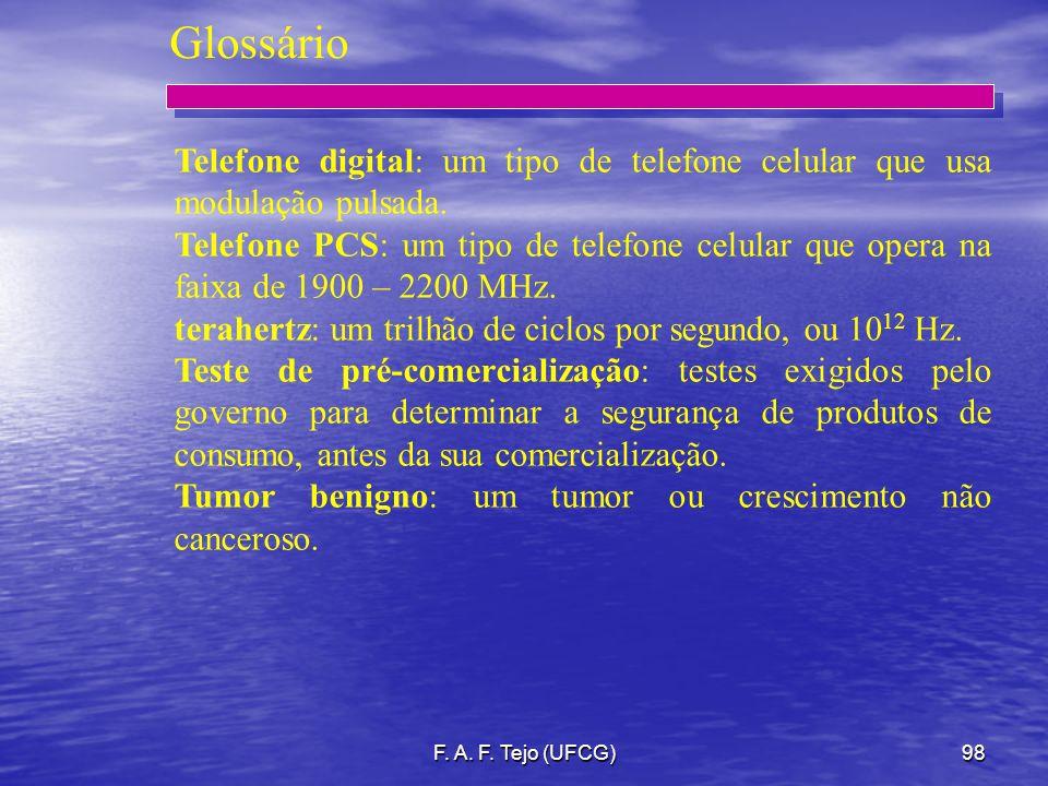 F. A. F. Tejo (UFCG)98 Glossário Telefone digital: um tipo de telefone celular que usa modulação pulsada. Telefone PCS: um tipo de telefone celular qu