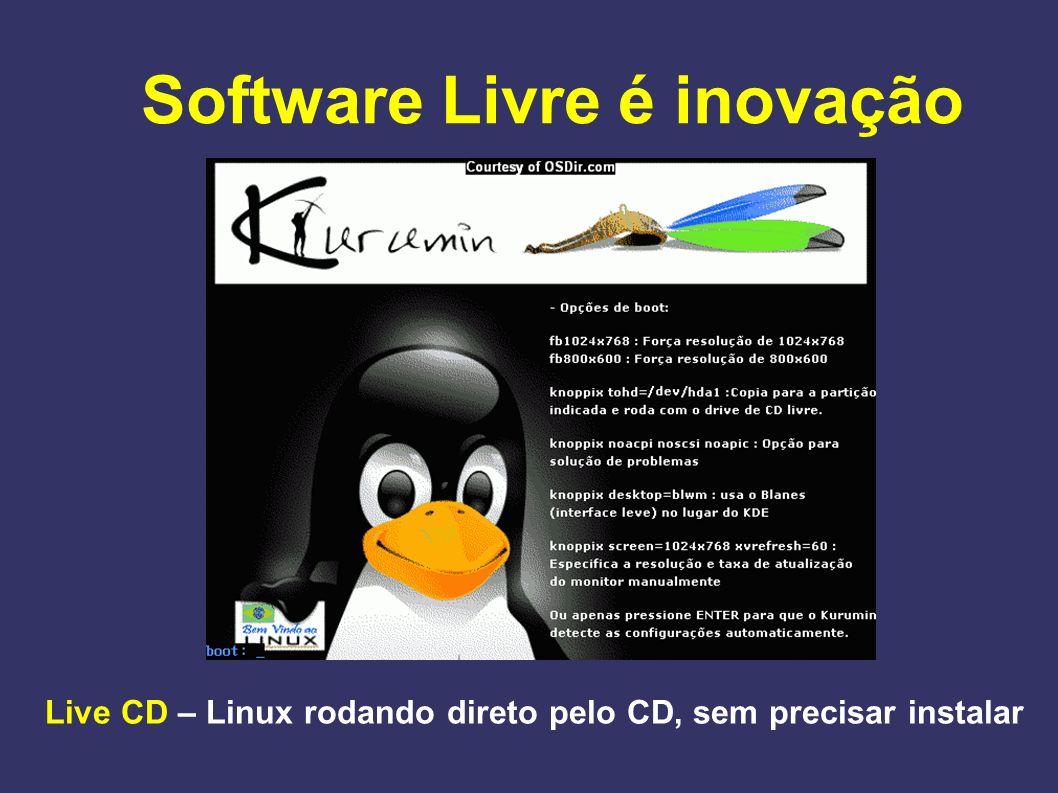 Live CD – Linux rodando direto pelo CD, sem precisar instalar Software Livre é inovação