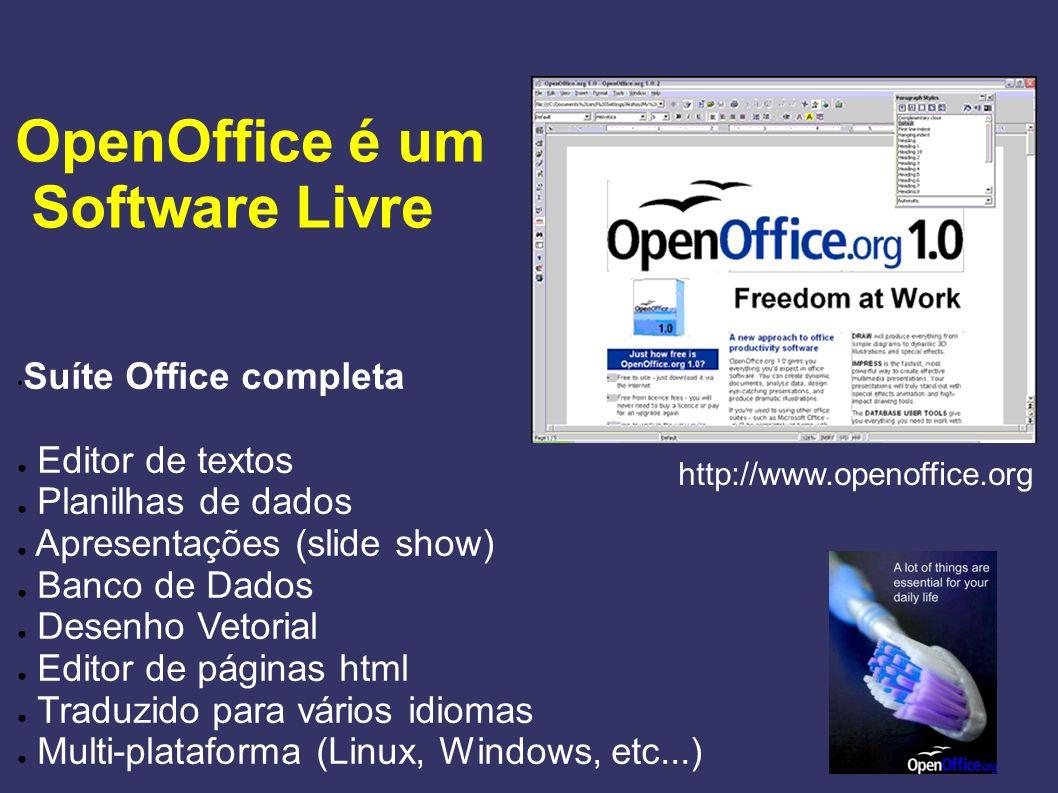 OpenOffice é um Software Livre Suíte Office completa Editor de textos Planilhas de dados Apresentações (slide show) Banco de Dados Desenho Vetorial Ed