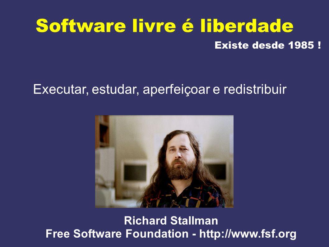 Software livre é liberdade Existe desde 1985 ! Executar, estudar, aperfeiçoar e redistribuir Richard Stallman Free Software Foundation - http://www.fs