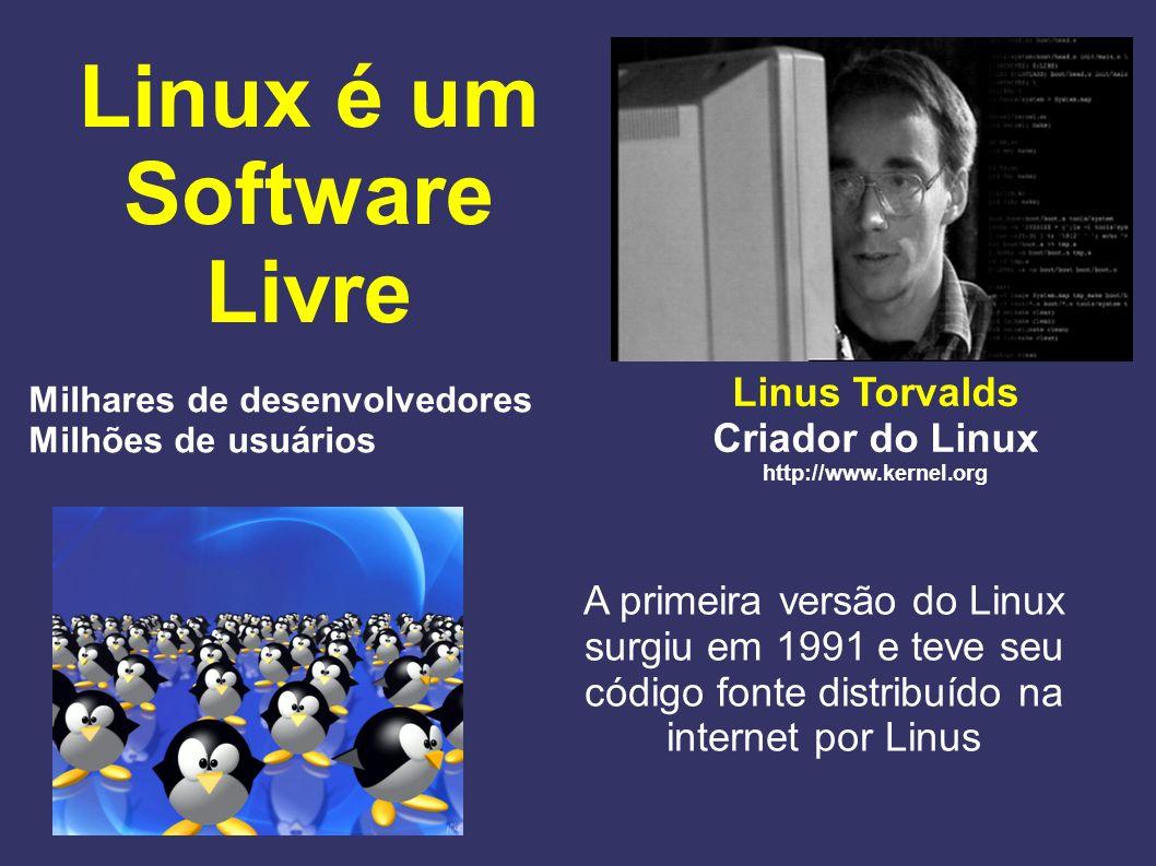 Linux é um Software Livre Linus Torvalds Criador do Linux http://www.kernel.org A primeira versão do Linux surgiu em 1991 e teve seu código fonte dist