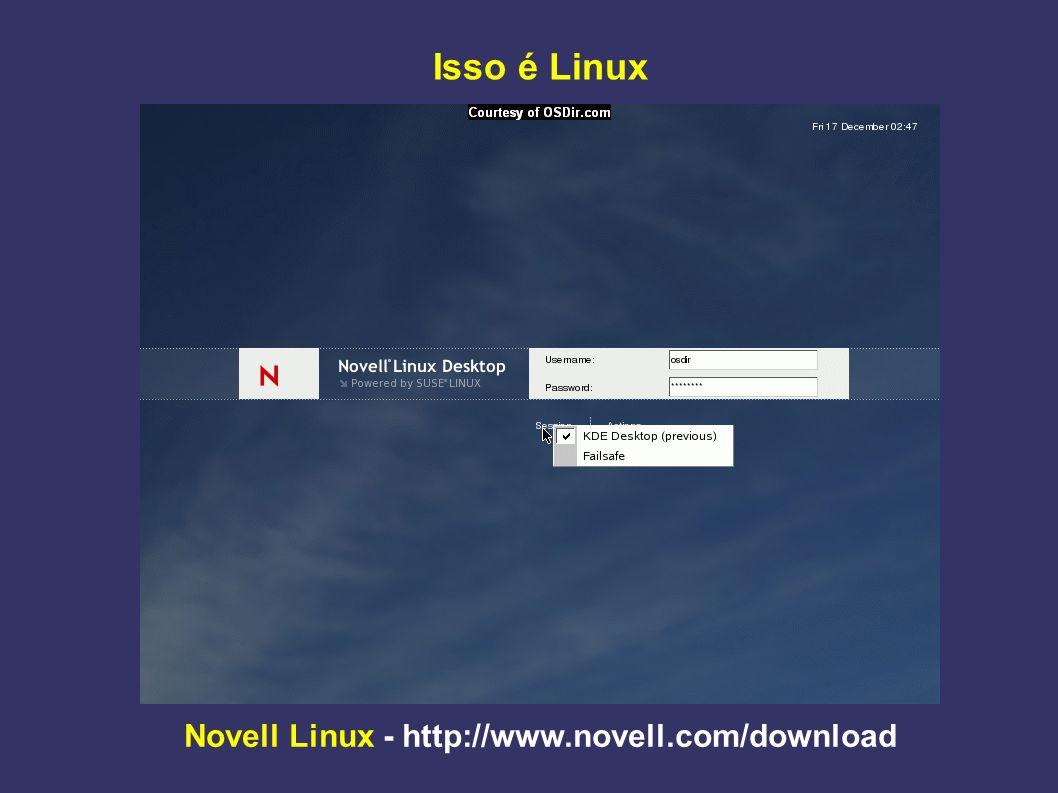 Novell Linux - http://www.novell.com/download Reconhecimento e configuração automática de hardware
