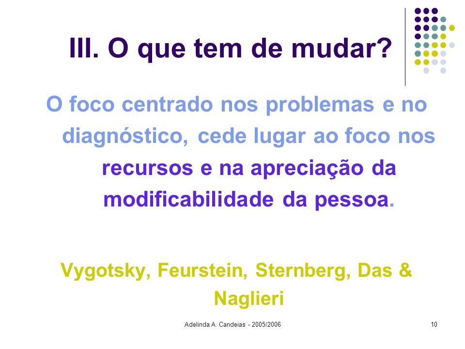 Adelinda A. Candeias - 2005/200610 III. O que tem de mudar? O foco centrado nos problemas e no diagnóstico, cede lugar ao foco nos recursos e na aprec