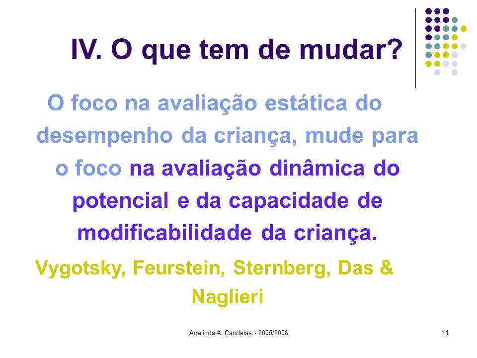 Adelinda A. Candeias - 2005/200611 IV. O que tem de mudar? O foco na avaliação estática do desempenho da criança, mude para o foco na avaliação dinâmi