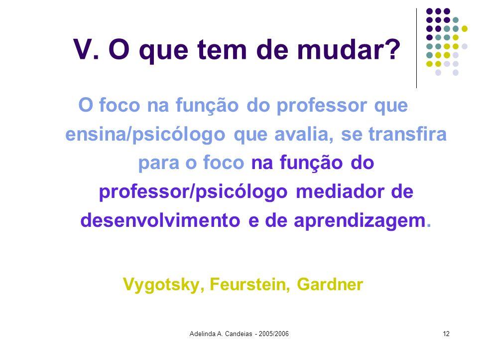 Adelinda A. Candeias - 2005/200612 V. O que tem de mudar? O foco na função do professor que ensina/psicólogo que avalia, se transfira para o foco na f