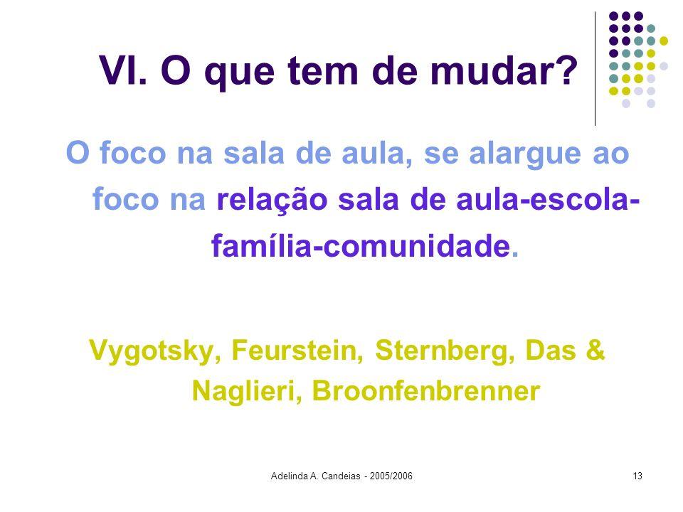 Adelinda A. Candeias - 2005/200613 VI. O que tem de mudar? O foco na sala de aula, se alargue ao foco na relação sala de aula-escola- família-comunida