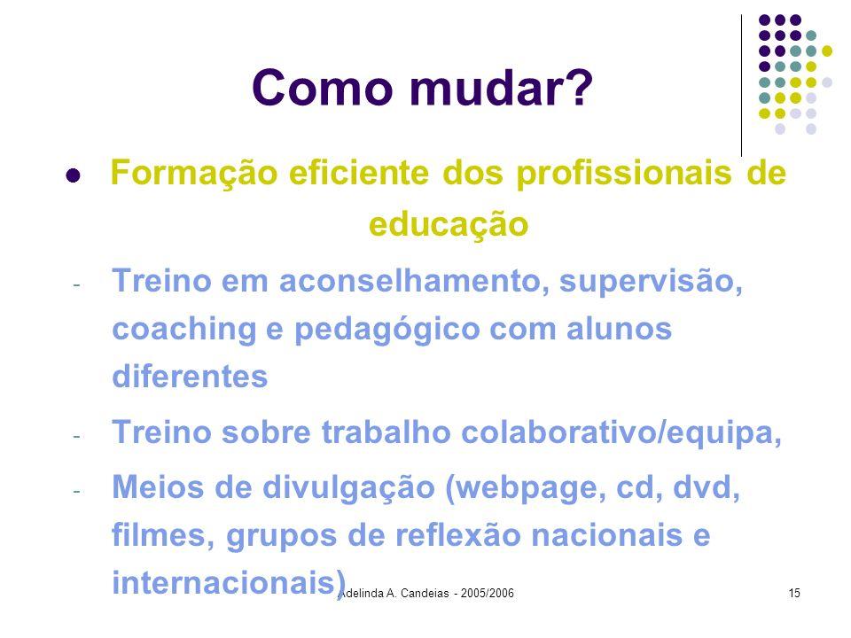 Adelinda A. Candeias - 2005/200615 Como mudar? Formação eficiente dos profissionais de educação - Treino em aconselhamento, supervisão, coaching e ped