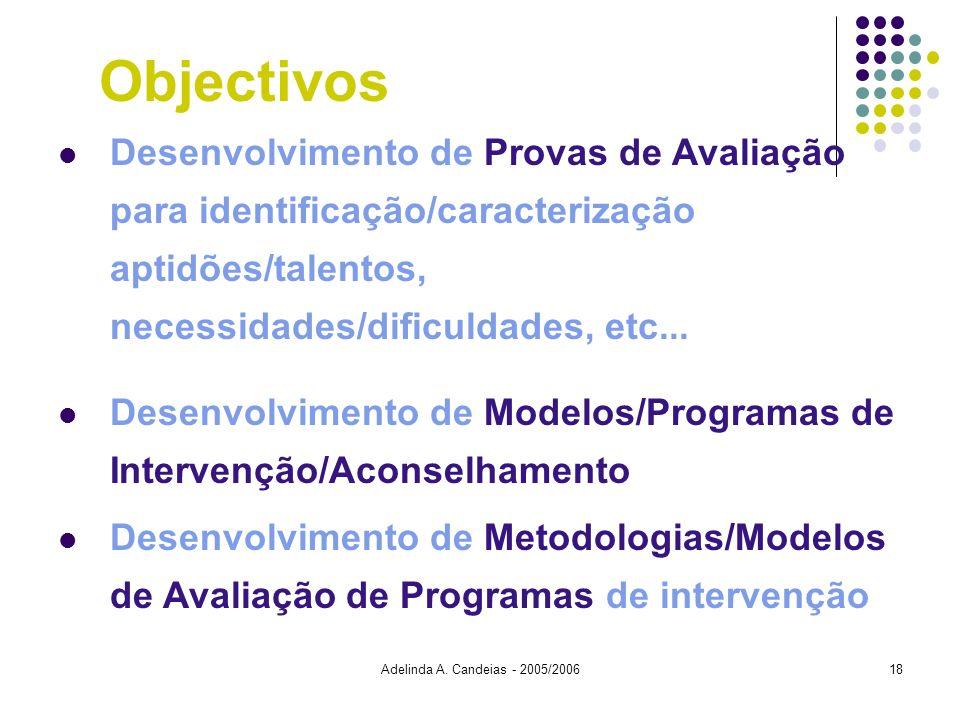 Adelinda A. Candeias - 2005/200618 Desenvolvimento de Provas de Avaliação para identificação/caracterização aptidões/talentos, necessidades/dificuldad