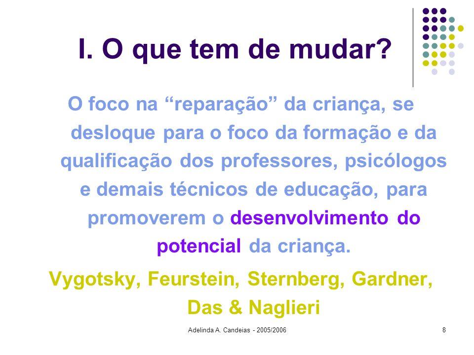 Adelinda A. Candeias - 2005/20068 I. O que tem de mudar? O foco na reparação da criança, se desloque para o foco da formação e da qualificação dos pro