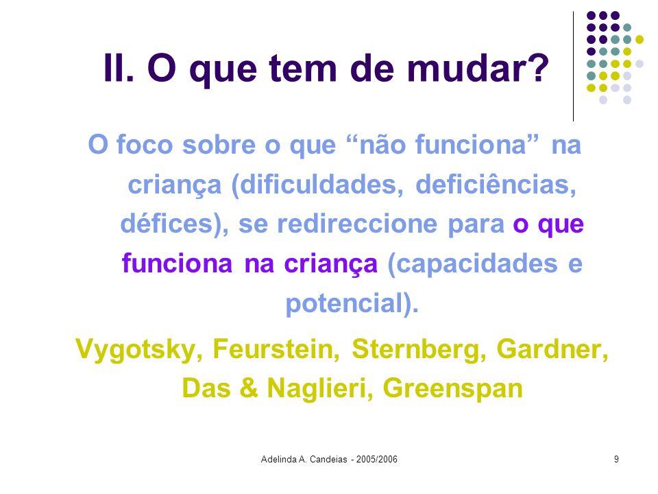 Adelinda A. Candeias - 2005/20069 II. O que tem de mudar? O foco sobre o que não funciona na criança (dificuldades, deficiências, défices), se redirec