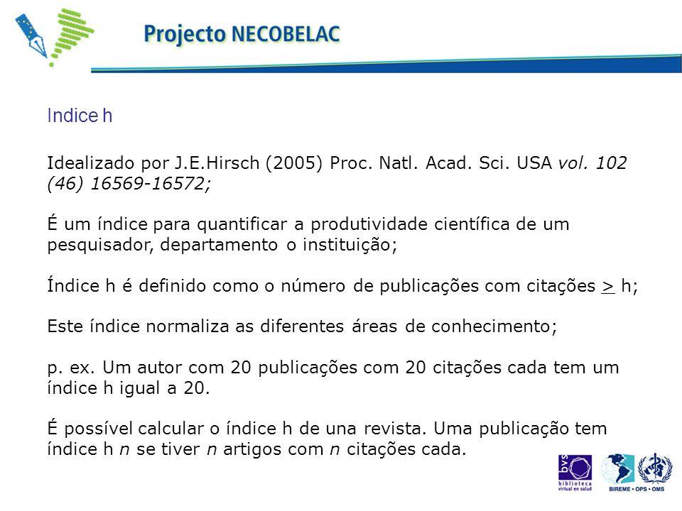 Idealizado por J.E.Hirsch (2005) Proc. Natl. Acad. Sci. USA vol. 102 (46) 16569-16572; É um índice para quantificar a produtividade científica de um p