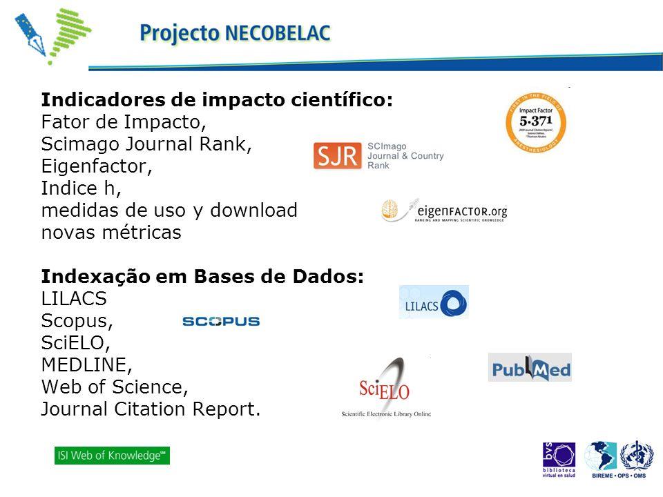 Indicadores de impacto científico: Fator de Impacto, Scimago Journal Rank, Eigenfactor, Indice h, medidas de uso y download novas métricas Indexação e