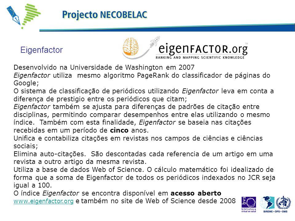 Desenvolvido na Universidade de Washington em 2007 Eigenfactor utiliza mesmo algoritmo PageRank do classificador de páginas do Google; O sistema de cl