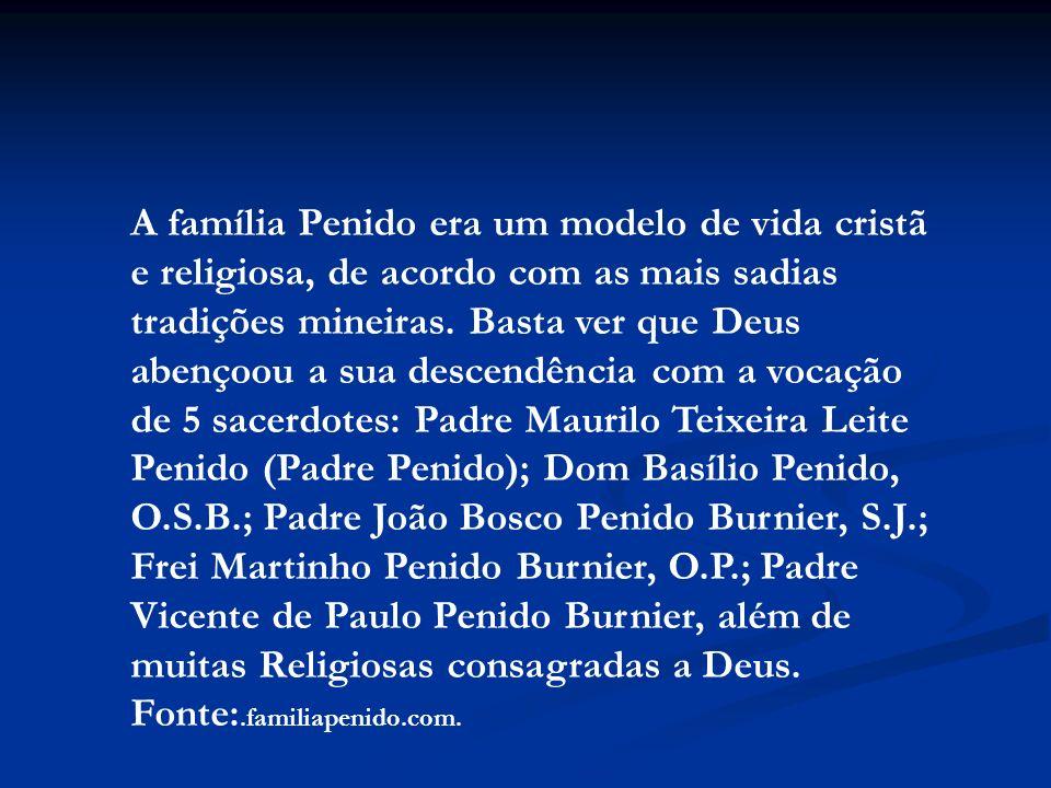 A família Penido era um modelo de vida cristã e religiosa, de acordo com as mais sadias tradições mineiras. Basta ver que Deus abençoou a sua descendê