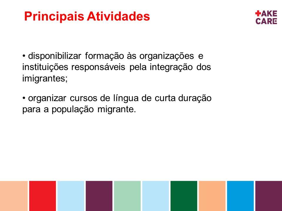 inhoud Principais Atividades disponibilizar formação às organizações e instituições responsáveis pela integração dos imigrantes; organizar cursos de l