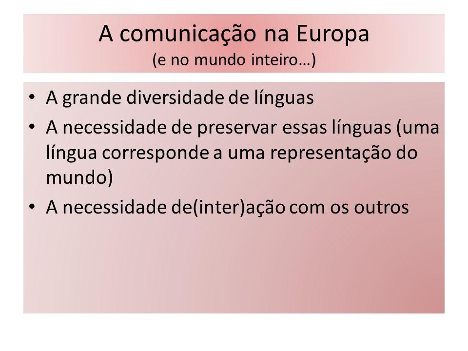 A comunicação na Europa (e no mundo inteiro…) A grande diversidade de línguas A necessidade de preservar essas línguas (uma língua corresponde a uma r