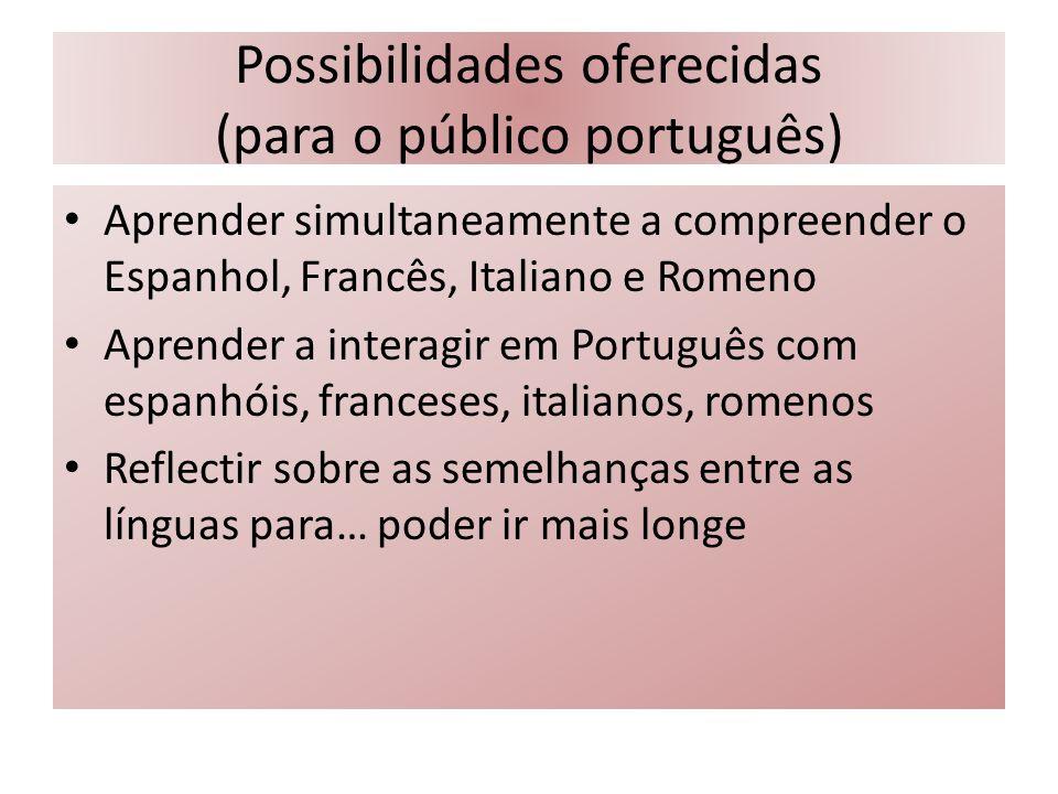 Possibilidades oferecidas (para o público português) Aprender simultaneamente a compreender o Espanhol, Francês, Italiano e Romeno Aprender a interagi