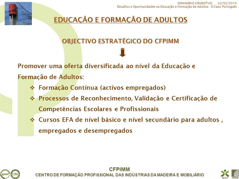 CFPIMM CENTRO DE FORMAÇÃO PROFISSIONAL DAS INDÚSTRIAS DA MADEIRA E MOBILIÁRIO IEFP EDUCAÇÃO E FORMAÇÃO DE ADULTOS Cursos 2008/2010 SEMINÁRIO GRUNDTVIG 22/02/2010 Desafios e Oportunidades na Educação e Formação de Adultos - O Caso Português CURSOSFORMANDOS EFA de Nível Secundário e de Habilitação Escolar 365 EFA de Nível Básico e Nível 2 de Formação 123 Total488