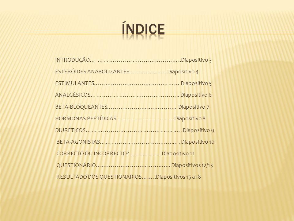 INTRODUÇÃO… ……………………………………..Diapositivo 3 ESTERÓIDES ANABOLIZANTES……………….. Diapositivo 4 ESTIMULANTES……………………………………… Diapositivo 5 ANALGÉSICOS……………………