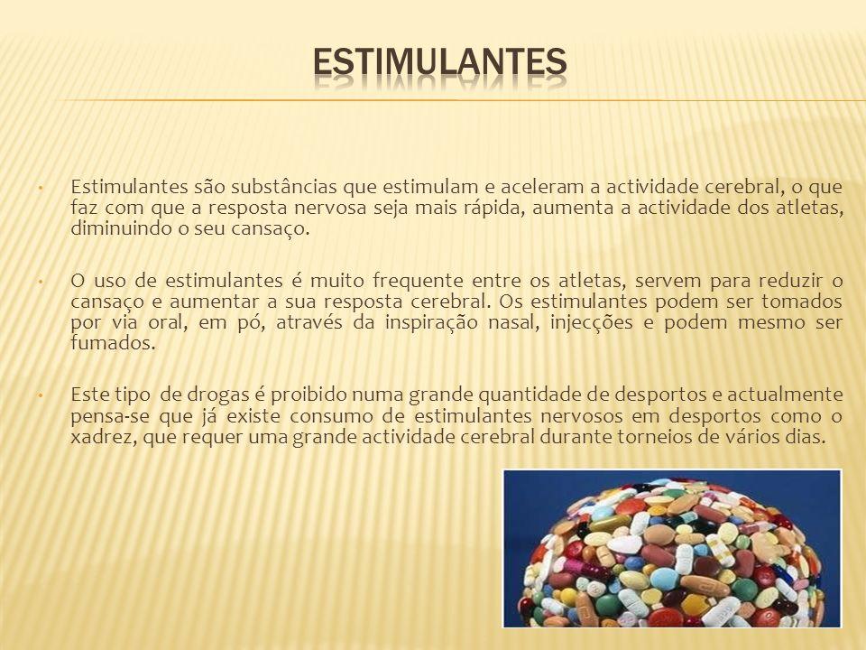 Analgésicos são drogas calmantes muito frequentemente usadas em quase todos os desportos fisicamente exigentes e que diminuem a dor.
