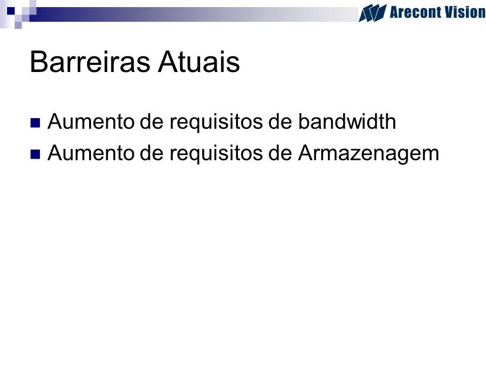 Barreiras Atuais Aumento de requisitos de bandwidth Aumento de requisitos de Armazenagem