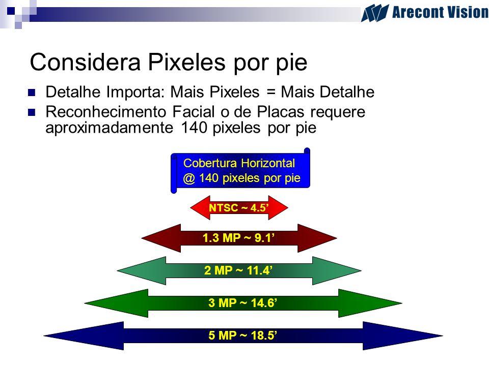 Considera Pixeles por pie Detalhe Importa: Mais Pixeles = Mais Detalhe Reconhecimento Facial o de Placas requere aproximadamente 140 pixeles por pie N