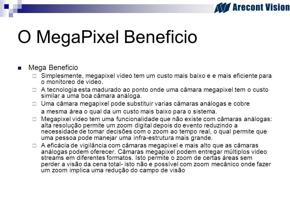 O MegaPixel Beneficio Mega Beneficio Simplesmente, megapixel video tem um custo mais baixo e e mais eficiente para o monitoreo de video. A tecnologia
