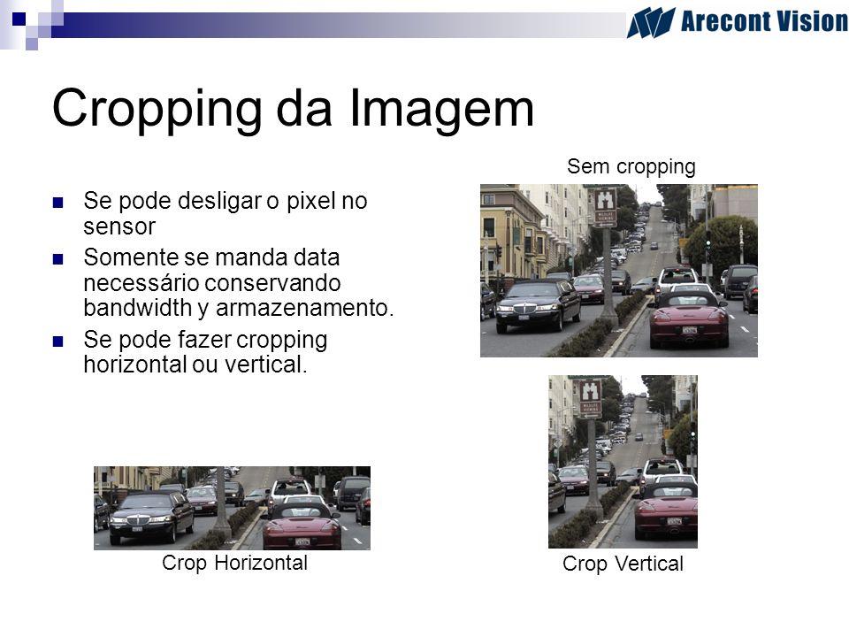 Cropping da Imagem Se pode desligar o pixel no sensor Somente se manda data necessário conservando bandwidth y armazenamento. Se pode fazer cropping h