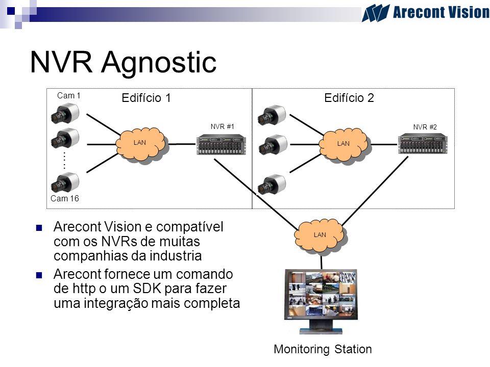 NVR Agnostic Arecont Vision e compatível com os NVRs de muitas companhias da industria Arecont fornece um comando de http o um SDK para fazer uma inte