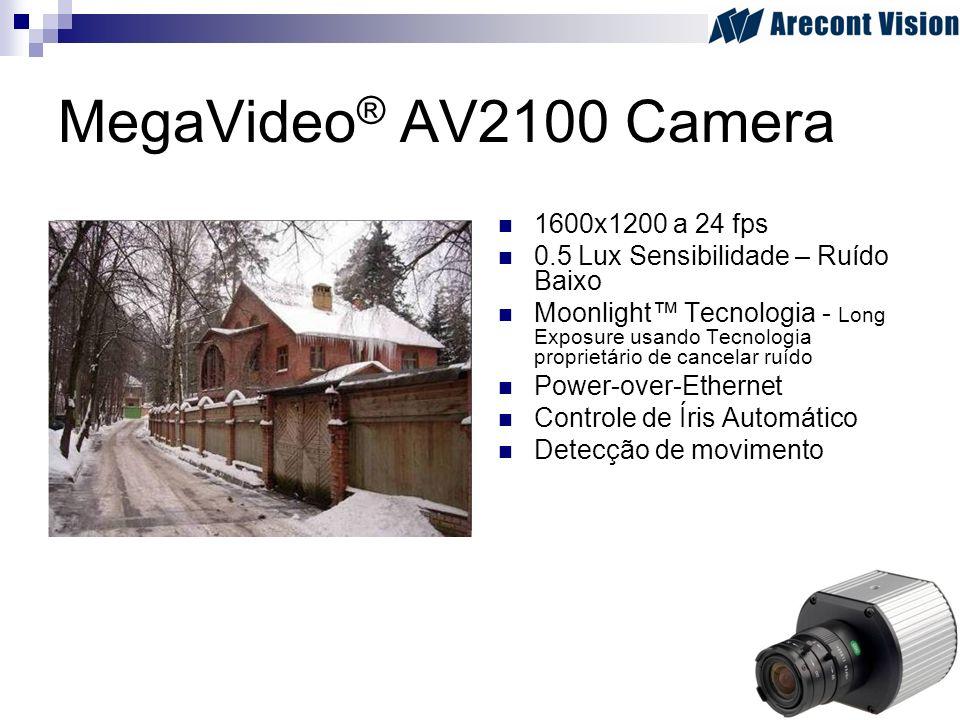 MegaVideo ® AV2100 Camera 1600x1200 a 24 fps 0.5 Lux Sensibilidade – Ruído Baixo Moonlight Tecnologia - Long Exposure usando Tecnologia proprietário d