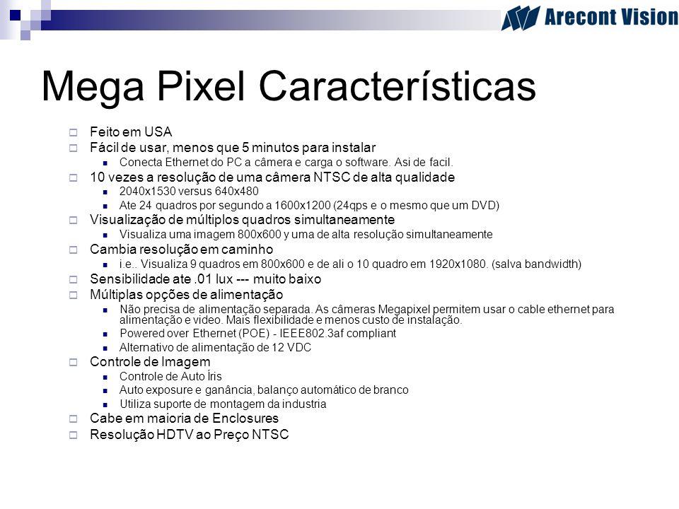 Mega Pixel Características Feito em USA Fácil de usar, menos que 5 minutos para instalar Conecta Ethernet do PC a câmera e carga o software. Asi de fa